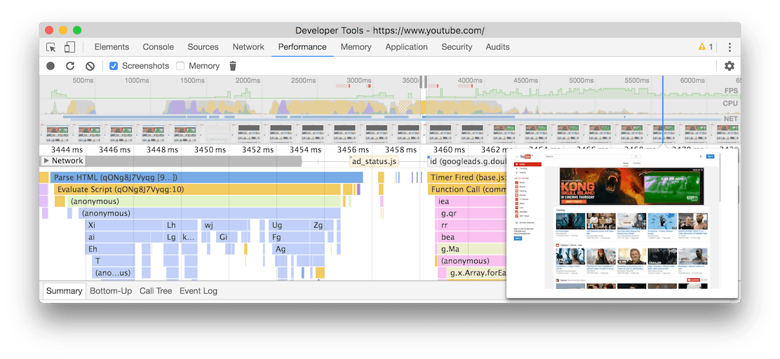 Flame chart in DevTools