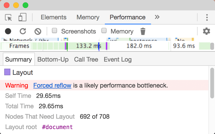 Forced reflow in devtools